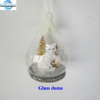 White pussy & mini Xmas trees in teardrop Christmas glass cloche ornament