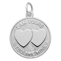 Wholesale engraved double heart romantic message I am yours you are mine charm for necklace