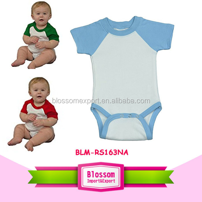 Raglan onesie American apparel wholesale price cotton blank carter's short sleeve raglan baseball romper