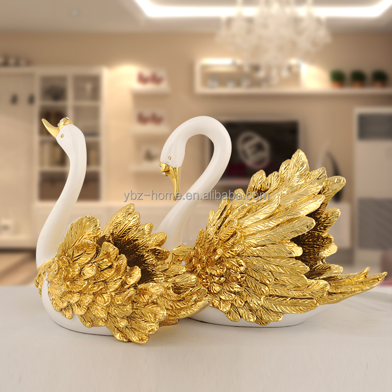 New products golden-plating swan wine rack home decoration