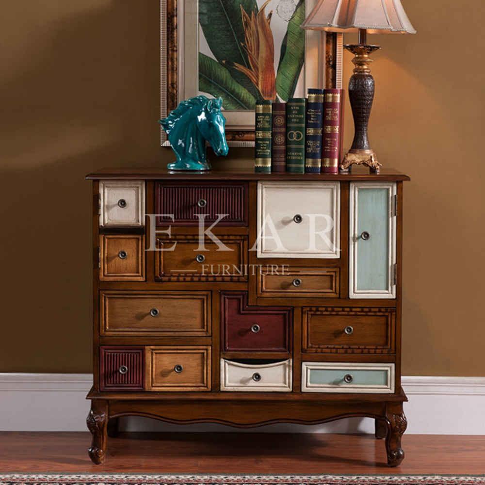 5 colored drawers cabinet guangdong foshan wood furniture