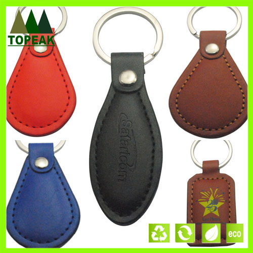 Customized logo leather keyring PU leather keychain