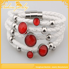White Pu Leather Red Coral Bracelet For Women