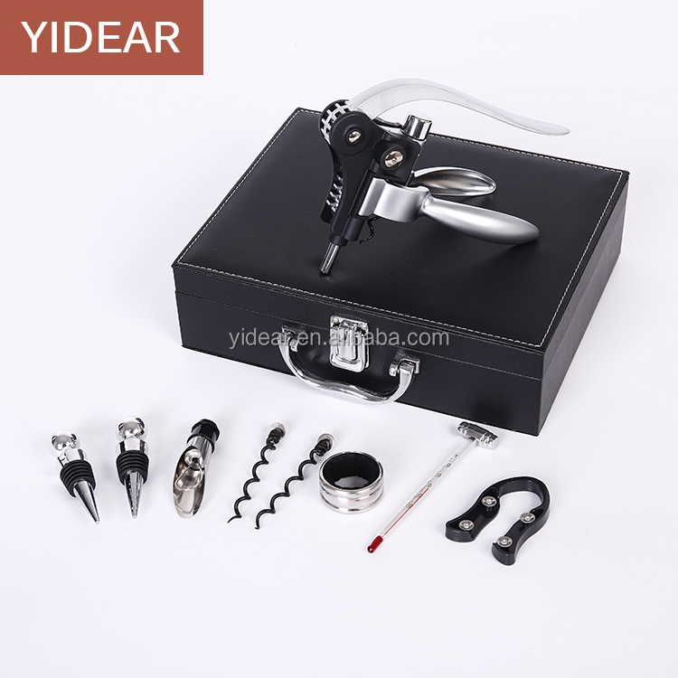 Yidear black PU leather box wine opener set / wine corkscrew opener kit / rabbit shape opener