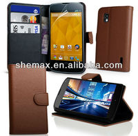 Brown PU Wallet Leather Case Cover for Google Nexus 4 E960