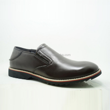 no lace black round toe leather casual shoe makers in china