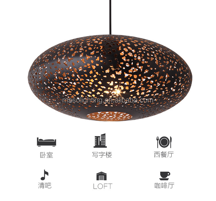 Antique baking finish Cast Iron Suspension light Bar coffee house art decoration pendant lamp Egg shape star hollow droplight
