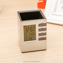 Home decoration digital transparent lcd battery operated calendar alarm clock with pen holder