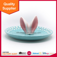 Eco-friendly promotion easter animal ceramic fruit plate