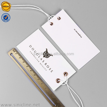 Sinicline elegant design gold foil hang tags clothing swing tags with double eyelets