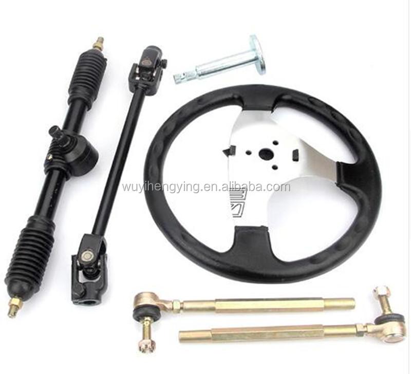 DIY 270mm 320mm 110cc go kart Steering Wheel Assembly tie rod rack for quad bike atv spare parts