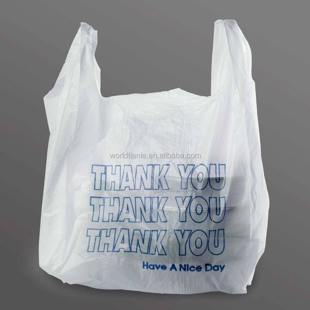 Supermarket, grocery carry-out plastic Thank you T-shirt bag