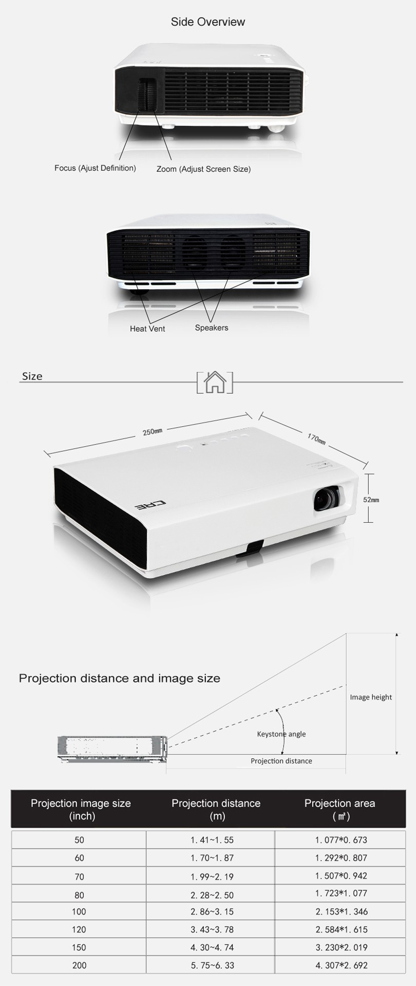 CRE WXGA 3000 lumens 800P widescreen 16:10 blue-tooth shutter 3D led dlp mini projector hd 1080p