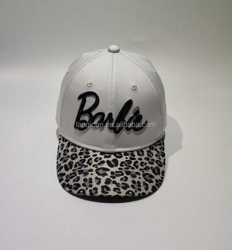 Attractive Style White Cotton Black 3D Embroidery  Leopard Bill  Kids  Hat