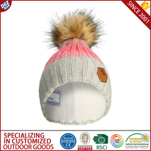 Wool knit fur ski women hat and cap hat for kids