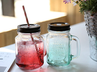 500ml Screw Top Lid Engraving Glass Mason Jar With Handles