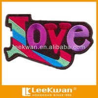 embroidered fabric patch, decorative iron on patches for jeans, letter love patch