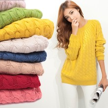 13879 New Fashion 2014 Autumn Winter Long Sleeve Pure Color O-neck Twist Woman Pullover Knitted Sweater