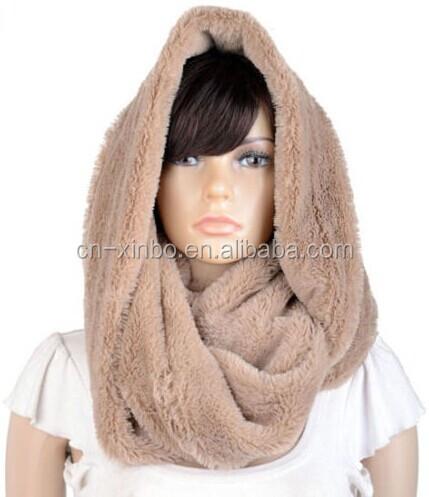champagne faux rabbit fur loop neck warm winter infinity scarf