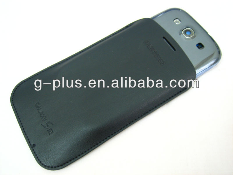 Black Genuine Leather Carrying Case Pouch for Samsung Galaxy S3 SIII i9300 T999 i747 i535i L710 R530