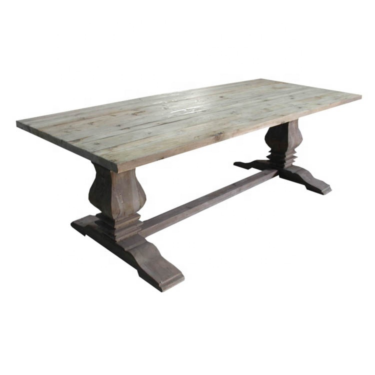 Top selling antique rectangular restaurant home recycled rustic wood farmhouse trestle dining <strong>table</strong>