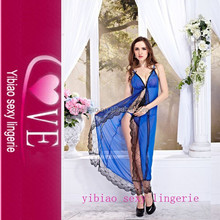 2016 New Trendy Products Sexy Satin Night Mesh Long Transparent Night Gown With G-string