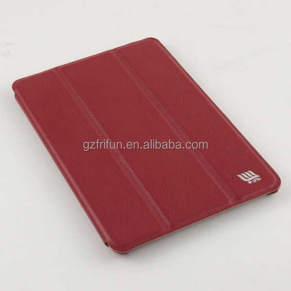 China Factory OEM & ODM 3 Fold PU Leather Wine Case for Ipad Mini 2