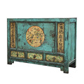 Distressed painted Mongolian antique one door three drawer sideboard chest