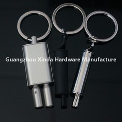 Different type metal car parts exhaust keyring ,Turbine keyring ,LED spark plug key holder