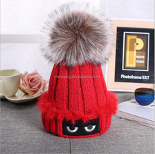 New Fashion Cute Eyes Pattern Winter Warm Lady Knitted Yarns Beanie Women Knit Hat With Fur Ball