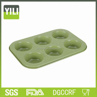 Green marble 6 cup muffin pan round