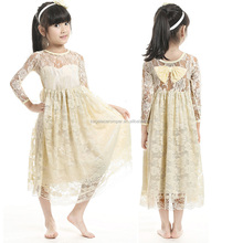 Wholesale Long Sleeve with Bowknot Flower Lace Long Simple Design Girls Frock