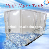 Huili large fiberglass plastic water containers, FRP sectional fish water tank for sale