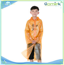 Customzied High quality Reusable PEVA Raincoat / Child Disposable rain poncho