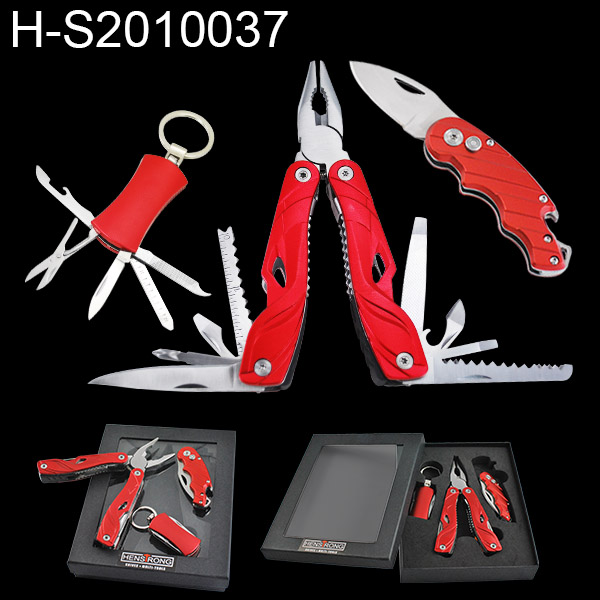 New Aluminum Handle Promotion Gift Tool Set For Survival Folding Knife Pliers Keyring