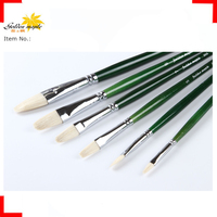 Round Chungking Bleached Pig Hair oil painting brush 6 pcs/set Chrome-plated Brass Ferrule with Bright Green Handle
