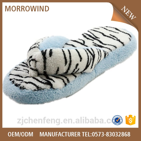 terry thong slipper with zebra print flip flop slipper