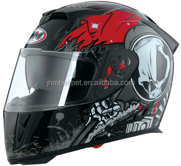 China hemets factory hot sale DOT approved double visors full face motorcycle helmet
