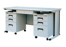 Office furniture Wood top Office computer desk with 2 mobile filing cabinet