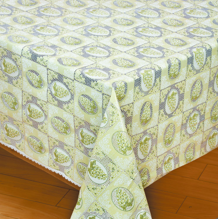 wholesale plastic coated lace embossed printed roll tablecloth