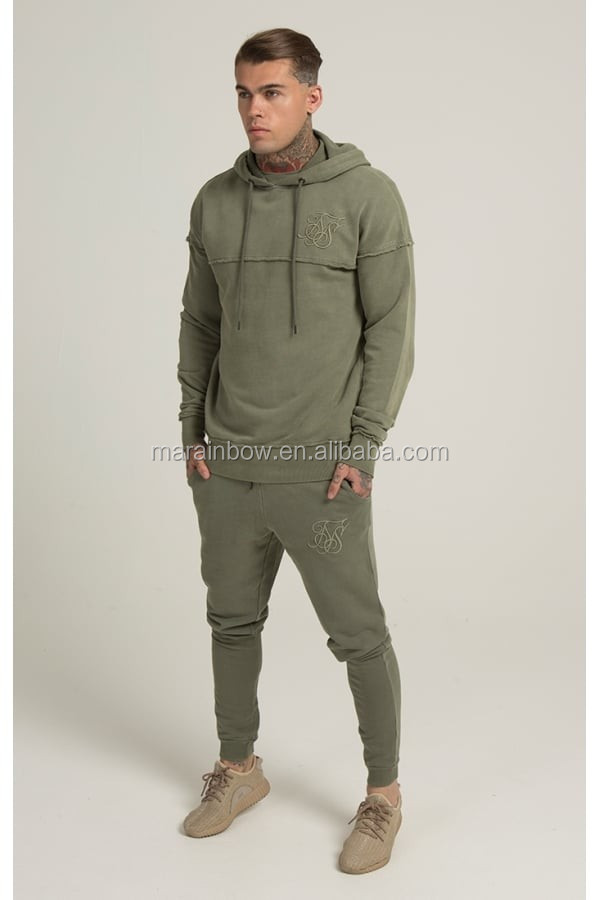 Khaki Men's Full Tracksuits 100% Cotton Raw Cut Gym Pullover Hoodie Tapered Jogger Pants Custom Tracksuit Tops and Bottoms