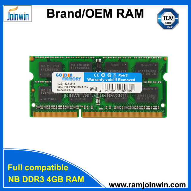 Low density pc3-10600 ram memory laptop so-dimm ddr3 1333mhz 4gb