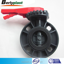 black body with red handle dn20 pvc manual butterfly ball valve