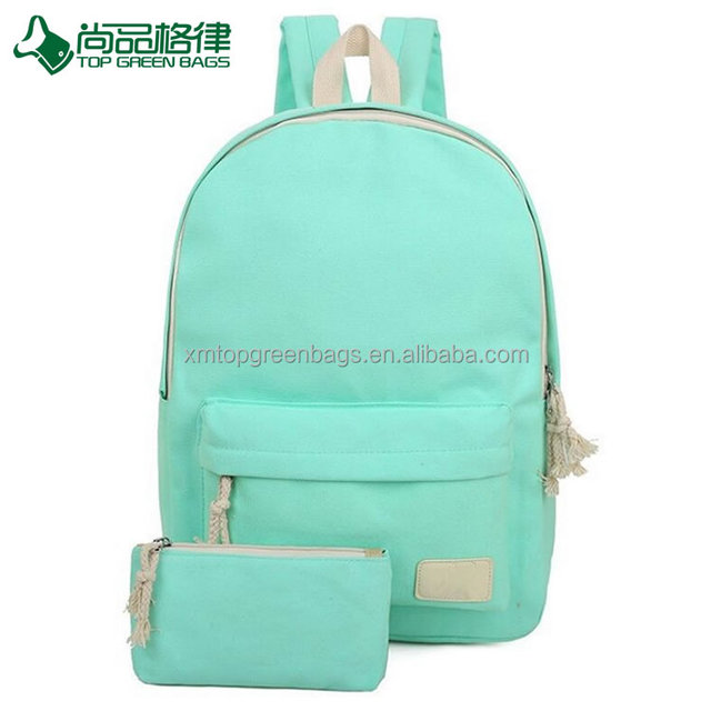 cheap cute stylish canvas candy color backpack for college girls