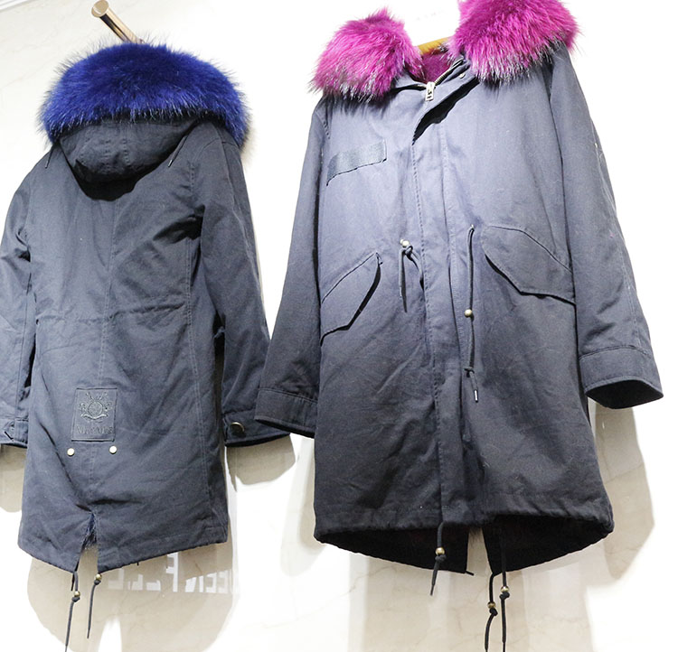 Fashion Lady racoon fur lining with racoon fur collar trim Parka coat wholesale for women gift