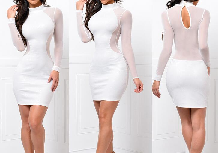B11724A europea women white long sleeve gauze bandage party dress