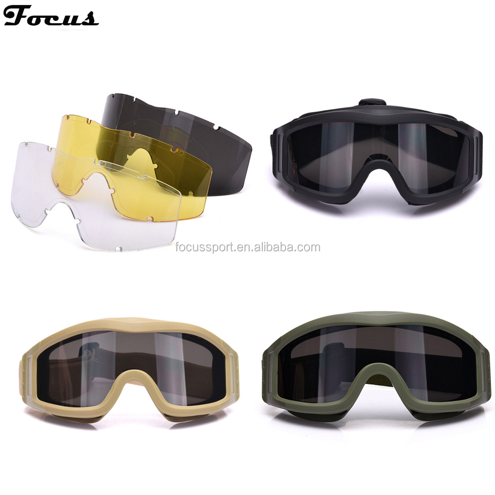3 Lens Army Profile Glasses UV400 Tactical Goggle Wind Dust Proof Glasses CS Eye Protector Sporting Gear Protective Glasses