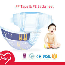 Gentle care sleepy disposable baby cheap diapers with PP tape and PE backsheet