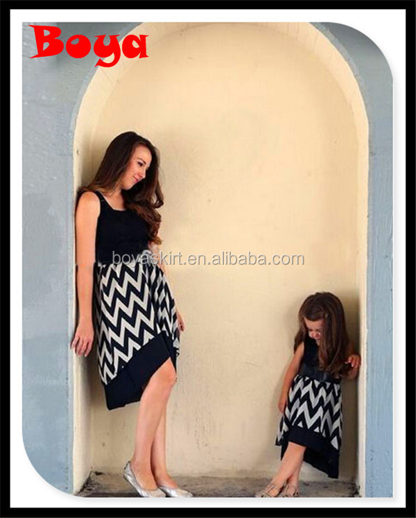 New Arrival 2015 Cotton Chevron Maxi Casual Dress Mommy And Me Casual Dress For Beach Party