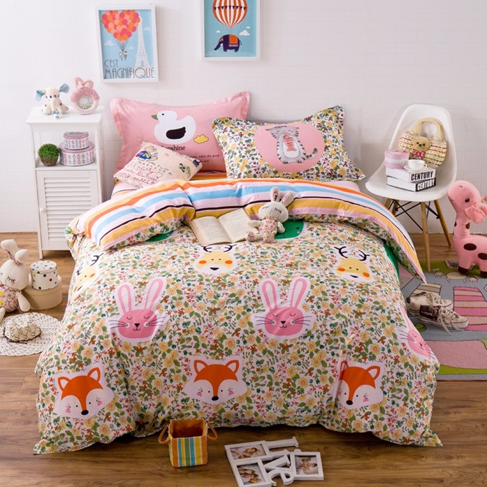Cartoon Style Animals And Flower Pattern Bed Sheet Pink Cotton Bed Set